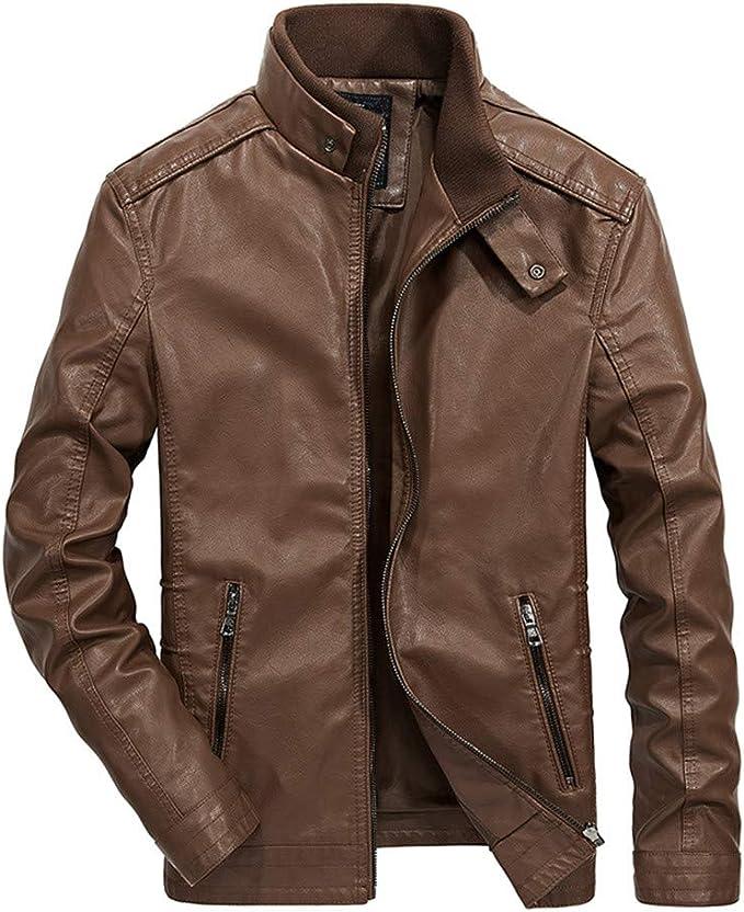 Geili Herren Jacke Lederjacke Übergangsjacke mit Stehkragen Modern Männer Coole Reißverschluss Bikerjacke Große Größen Warm Gefüttert Winterjacke