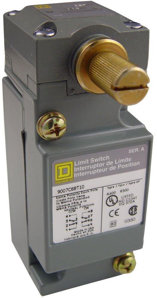 Square D 9007C68T10 Heavy Duty NEMA Limit Switch, Neutral Position, 2 Pole, Neutral-Position Rotary Head, 10-deg. Pretravel