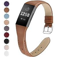 KIMILAR Armbanden compatibel met Fitbit Charge 4 / Charge 3 armband, leer, reserveband, tweekleurig, horlogeband voor…