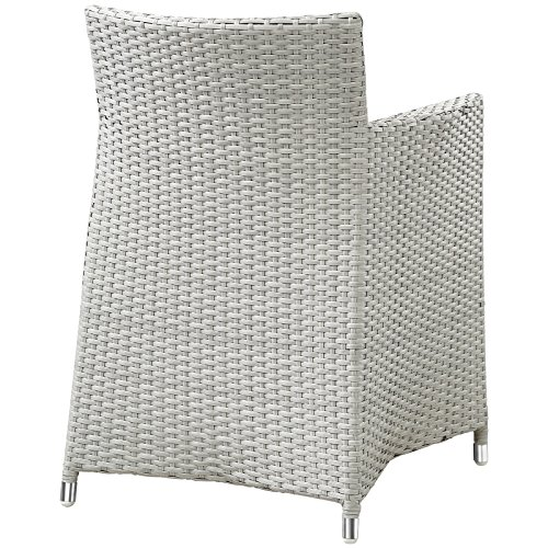 Modway EEI-1505-GRY-WHI Junction Wicker Rattan Outdoor Patio Dining Armchair with Cushion, Gray White (Armchairs Wicker White)