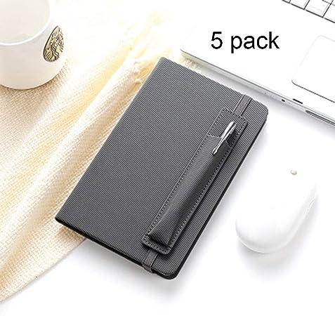 YYF Cuaderno A5 Titular de la Pluma portátil Correa, 192Pages, 5 Pack portátil (Color : Gray): Amazon.es: Hogar