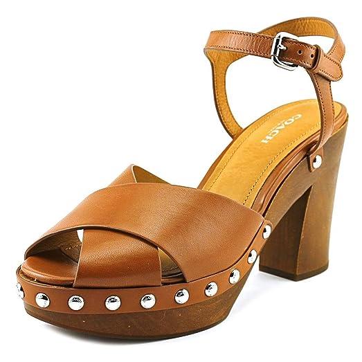 Womens Sandals COACH Viola Saddle Soft Vegan Leather