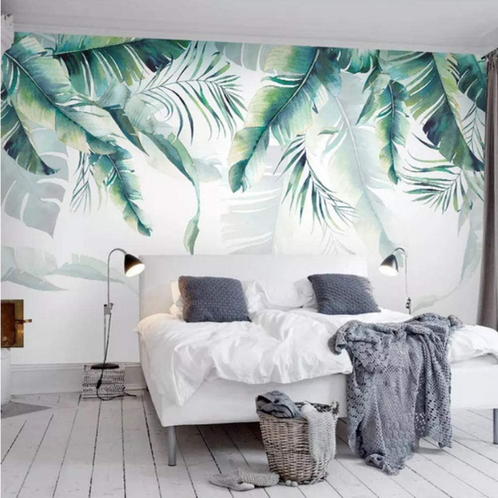 3D Decorations Murals Stickers Wall Wallpaper Graphic Retro Tropical Tropical Palm Banana Leaves Bedroom Living Room Sofa Art Kids Room (W)200X(H)140Cm 61bcoASO2UL