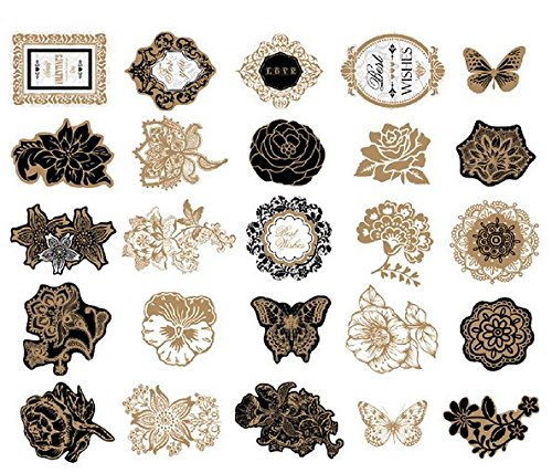 Woodmin Ephemera Pack Vintage Scrapbook Supplies Stickers Die Cut Paper Pack Note And Tag Die Cuts  25 Pieces  Assorted Colors Sd019