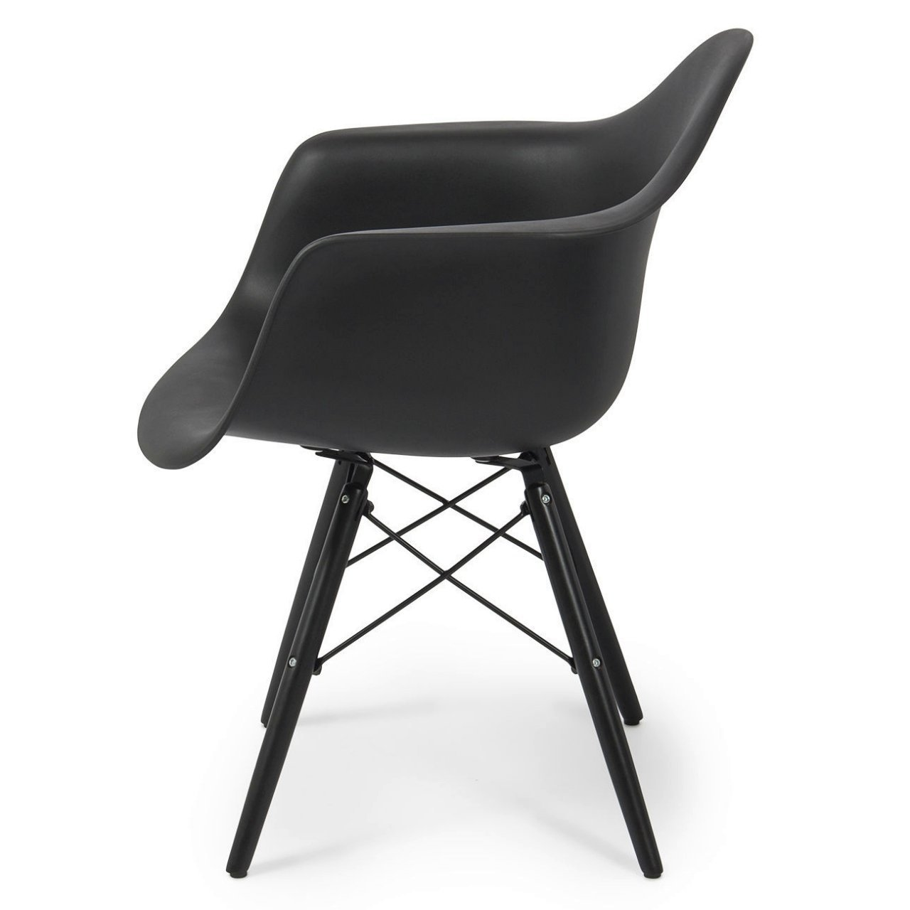 Modern Dining Chair Molded ABS Plastic Dowel Black Wooden Legs Posture Support Backrest Design Innovative Side Chair - Set of 2 Black #1442 by Koonlert@Shop (Image #2)