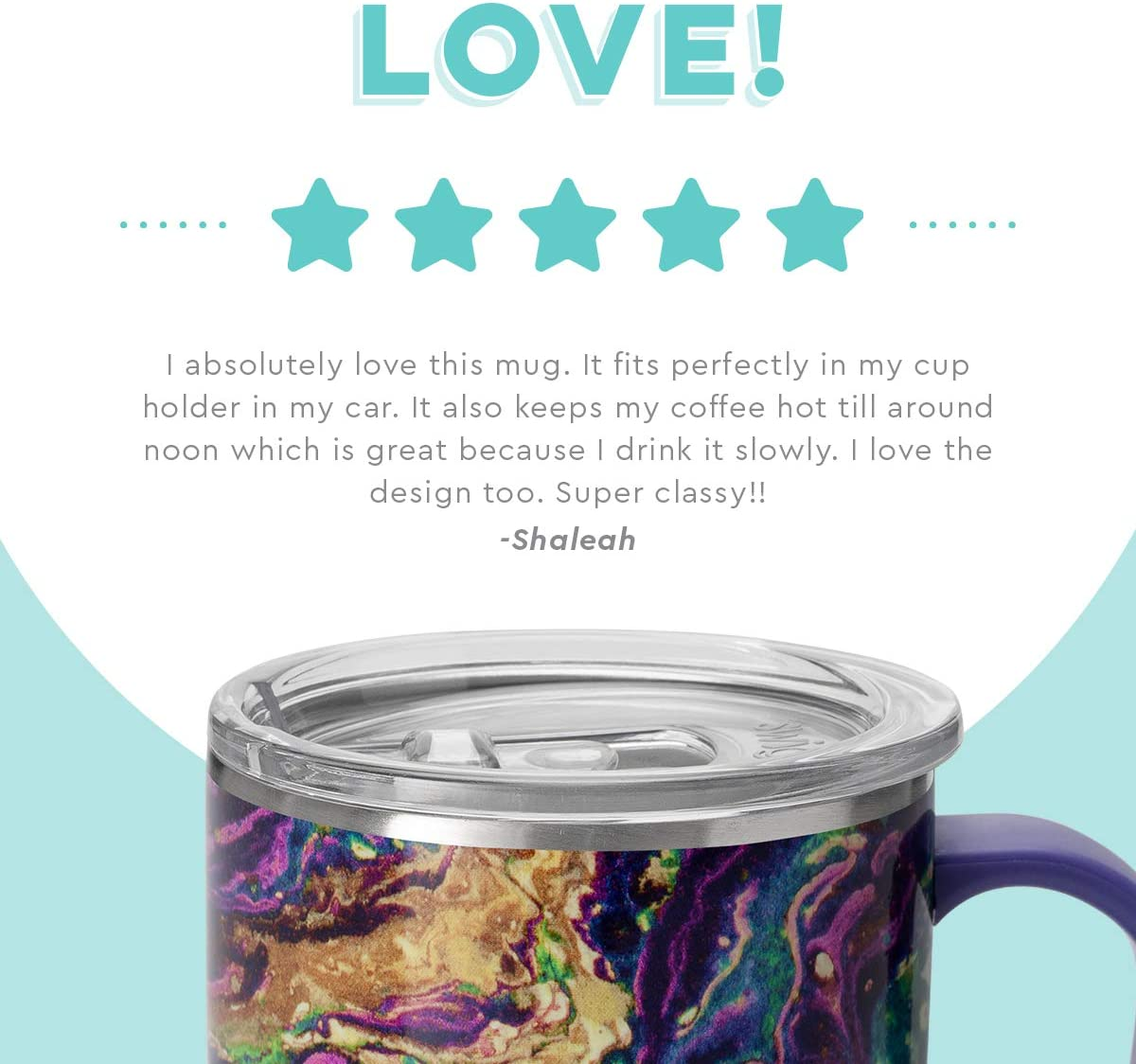 Swig Life 18oz Triple Insulated Travel Mug with Handle and Lid, Dishwasher Safe, Double Wall, and Vacuum Sealed Stainless Steel Coffee Mug