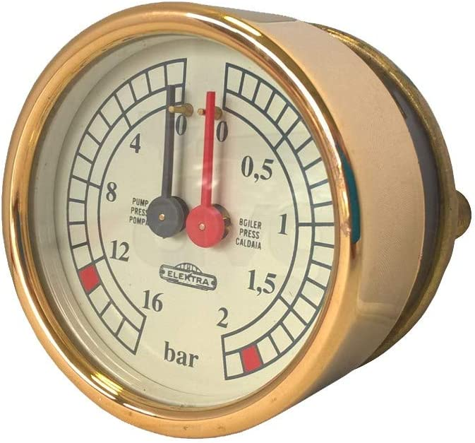 Manómetro caldera bomba D.60 0-2/0-16 bar color amarillo/oro. Para ...