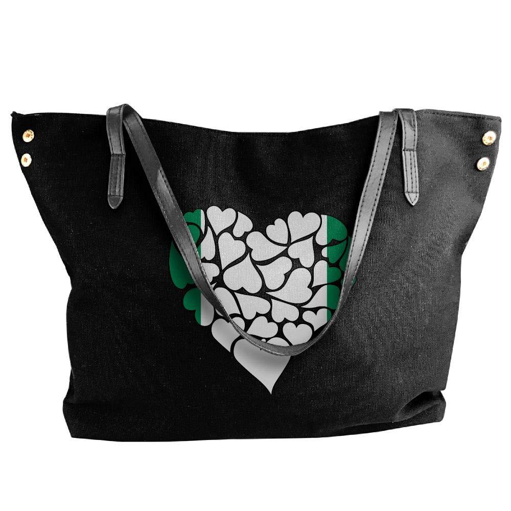 Women's Canvas Large Tote Shoulder Handbag Nigeria Flag Heart Love Messenger Hobo Bag Tote