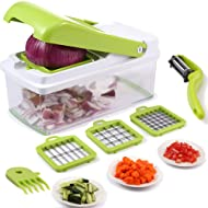 Vegetable Chopper,Upintek Vegetable Fruit Dicer,Effortless No-Mess Salad Onion Vegetable Cutter+Peeler Slicer (Freebies),3Interchangeable Blades Set with Food Container,Cleaning Brush for Veggie Pasta