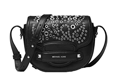 3bac1a9a9c57 Image Unavailable. Image not available for. Color  MICHAEL Michael Kors  Cary Small Grommeted Leather Saddle Bag - Black  278