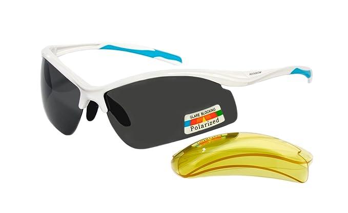 rainbow safety Gafas de sol Polarizada Deportivas Mujer Hombre Lentes Intercambiables 3296R (Blanco)
