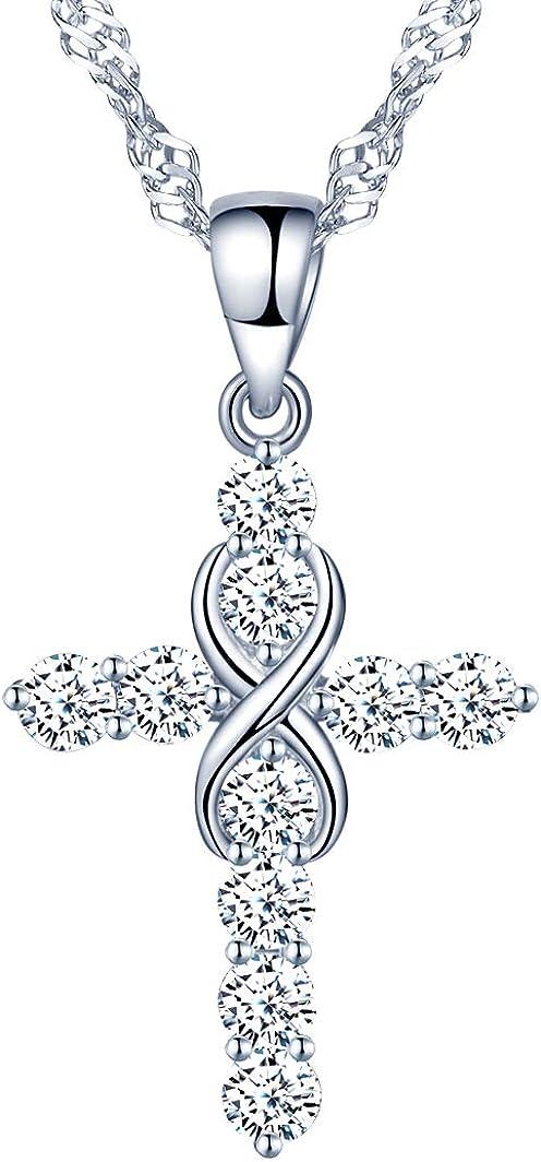 Collares de plata 925, collar para mujer y niña, colgante con cruz clásica, con símbolo de infinito, con circón incrustaciones, Plata/Oro rosa, Regalo de cumpleaños de Navidad