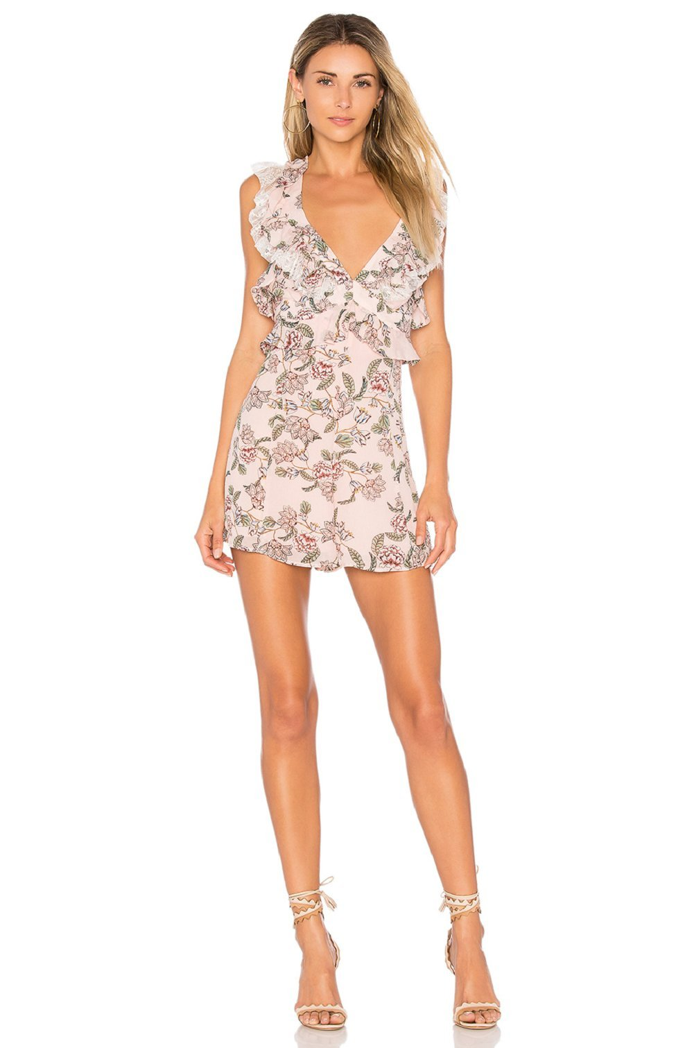 For Love & Lemons Bee Balm Romper in Pink Floral, s