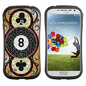 Hybrid Anti-Shock Bumper Case for Samsung Galaxy S4 / Cool Vintage Playing Card