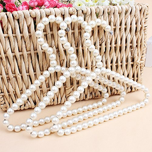 Bueer 3 Pack White Pearl Beads Metal Elegant Clothes Hangers For Kids Children Pet Dog Decorative Hanger