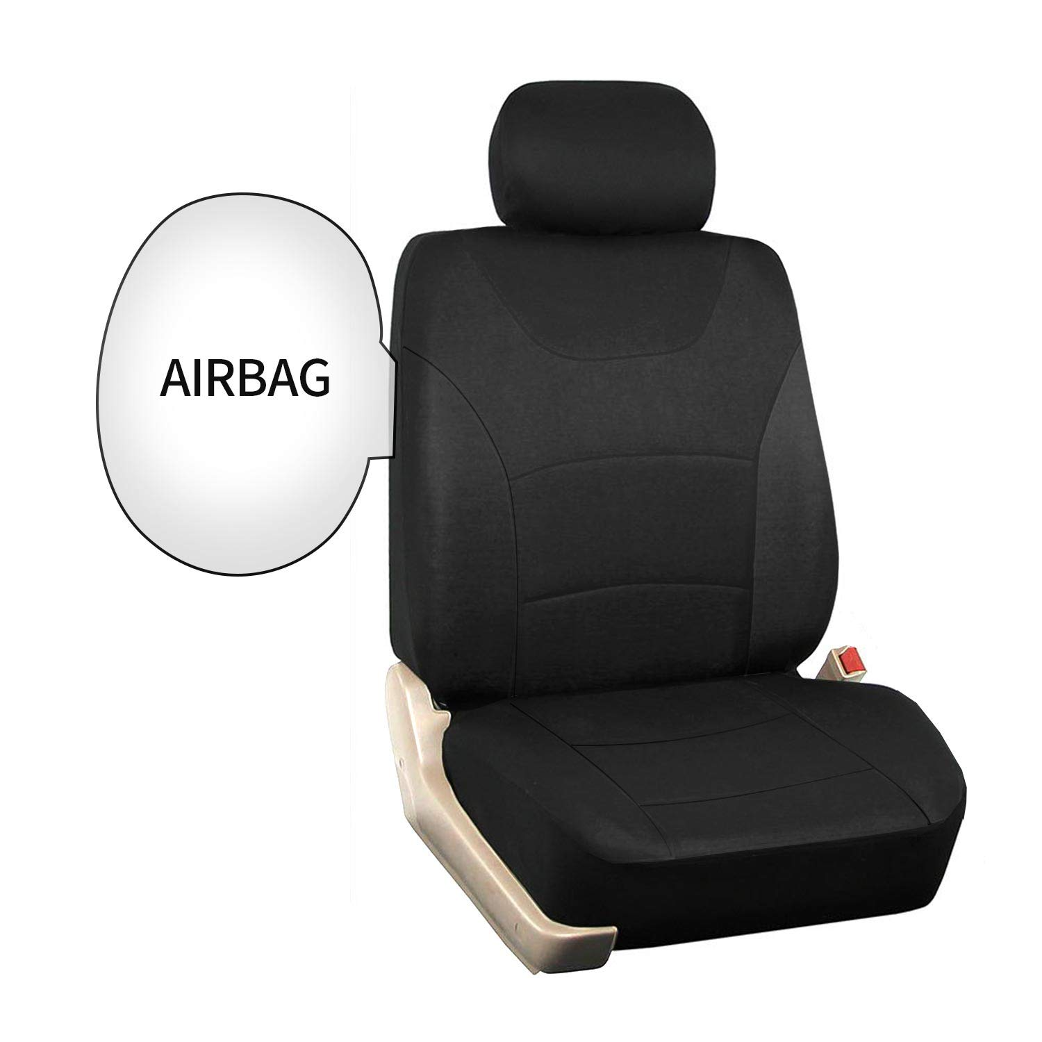 Car Front Seat Covers Truck SUV 1 Pair of Cloth Bucket Seat Covers Black Universal Fit Seat Covers for Sedan