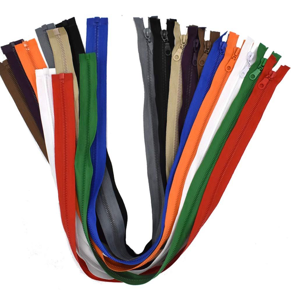 Renashed 10PCS #5 28 Inch Vislon Sport Separating Zipper for Sewing Coats Jacket Zipper Medium Weight Molded Plastic Mix Color 4337007001