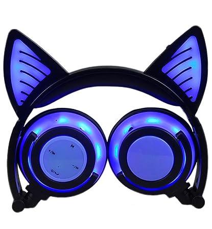 LIMSON Auriculares Inalámbricos Bluetooth Sobre el Oído, Headphones Plegables Recargables del oído del Gato con
