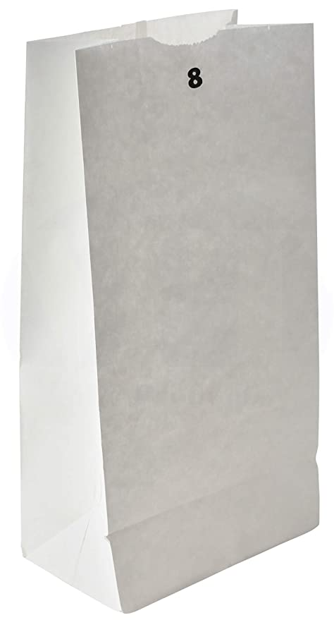 Grocery/Lunch Bag, Kraft Paper, 8 lb Capacity, (100 Count) (White)