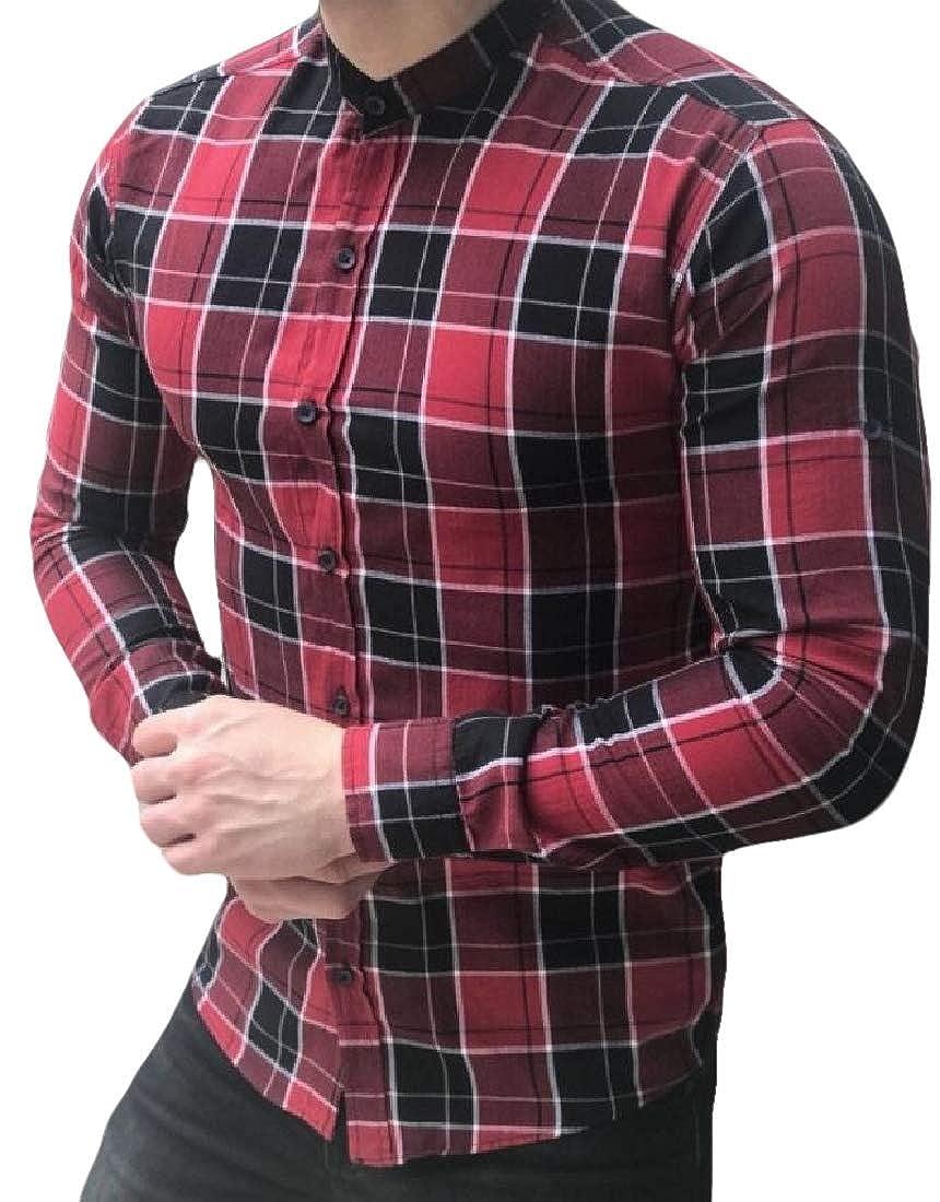 HTOOHTOOH Men Button Down Long Sleeve Cotton Regular Fit Button Down Shirts