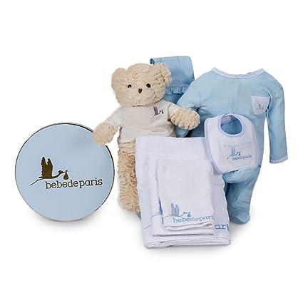 Canastilla regalo bebé en Caja Vintage Spa Esencial de BebeDeParis-Azul- set regalo para recién nacido