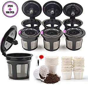 7 Pcs Refillable Reusable K Cups with 100 pcs Disposable Coffee Paper Filters for Keurig K Mini Plus and 2.0 - K200, K300, K400, K500 Series and All 1.0 Brewers (Black+White)