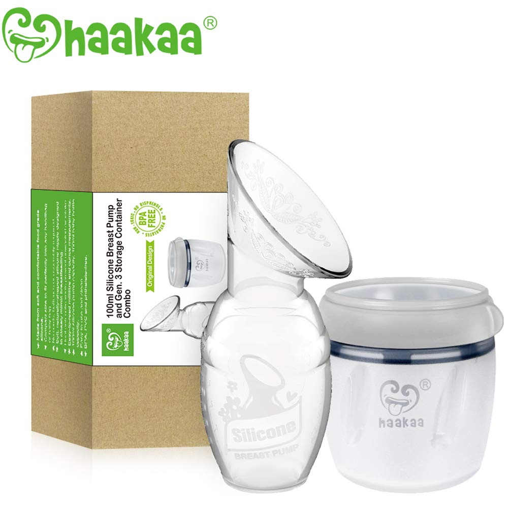 Haakaa Manual Breast Pump with Storage Milk Bottle for Breastfeeding 100% Food Grade Silicone BPA PVC and Phthalate Free (4oz/100ml Pump + 160ml Storage Milk Bottle)