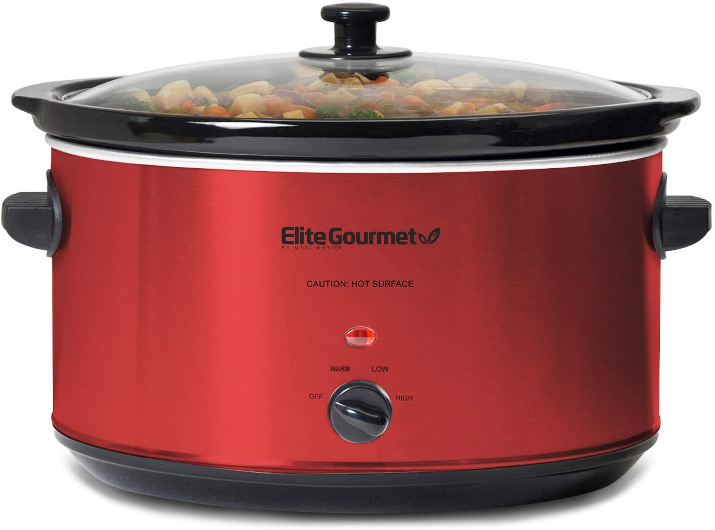 Elite Gourmet MST-900RXT Electric Ceramic XL Jumbo Slow Cooker Adjustable Temp, Entrees, Sauces, Stews & Dips, Dishwasher Safe Glass Lid & Crock, 8.5 Quart, Red