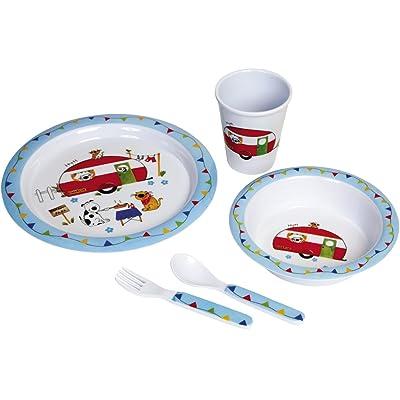 Enfants avec Motif Animal en mélamine Set petit déjeuner,–Incassable et passe au lave-vaisselle//enfants Set de vaisselle COUVERTS pour enfant Mélamine 5pièces