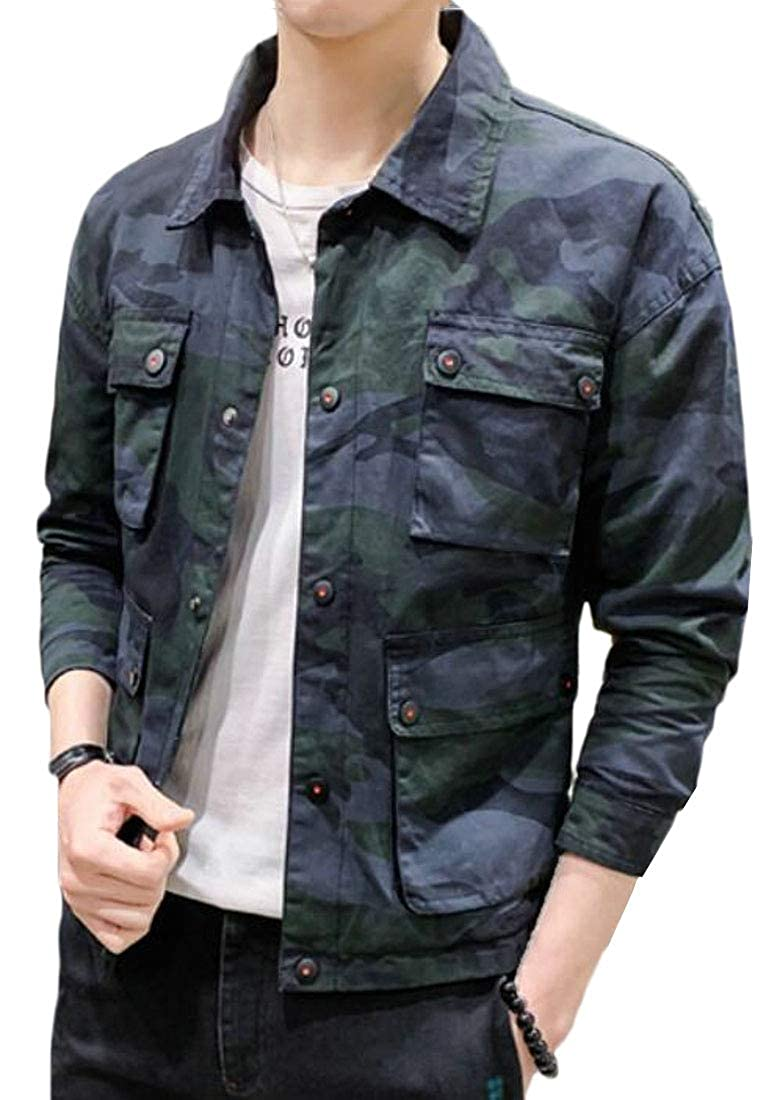 38be57412 SHOWNO Mens Casual Mandarin Collar Camouflage Trendy Zip Front Coat Jacket  at Amazon Men's Clothing store: