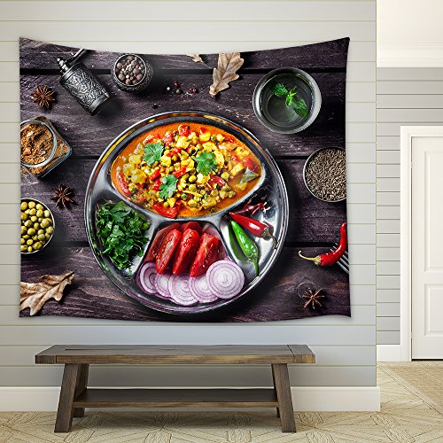 Indian Mutter Paneer Dish with Spices on the Wooden Background Fabric Wall Tapestry