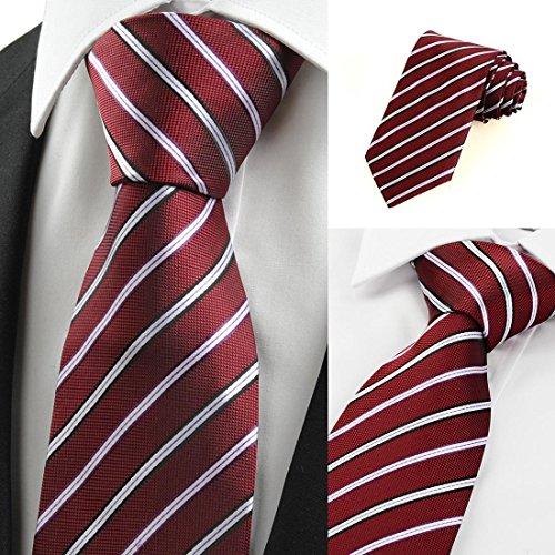 - FYios Luxury tie Striped Dark Red Men's Tie Necktie