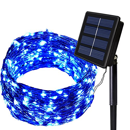 SOLARMKS Solar String Lights 8 Modes Outdoor String Lights 150 LED Fairy Lights Waterproof Blue Starry Copper Wired Lights for Garden Patio Lawn Wedding Party Christmas and Holiday Decorations (Garden Lights Solar Blue Led)