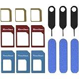 Mudder 3 Set Adattatore di Sim Card 5 in 1 Nano Micro Standard Sim Card Convertitore Kit con Cartella di Carta Sim e Ago