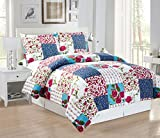 3-Piece Fine printed Country Rose Duvet Cover Set QUEEN SIZE - 1500 series high thread count Brushed Microfiber - Luxury Soft, Durable (Navy Blue, Burgundy, Red, White, Green, Turquoise)