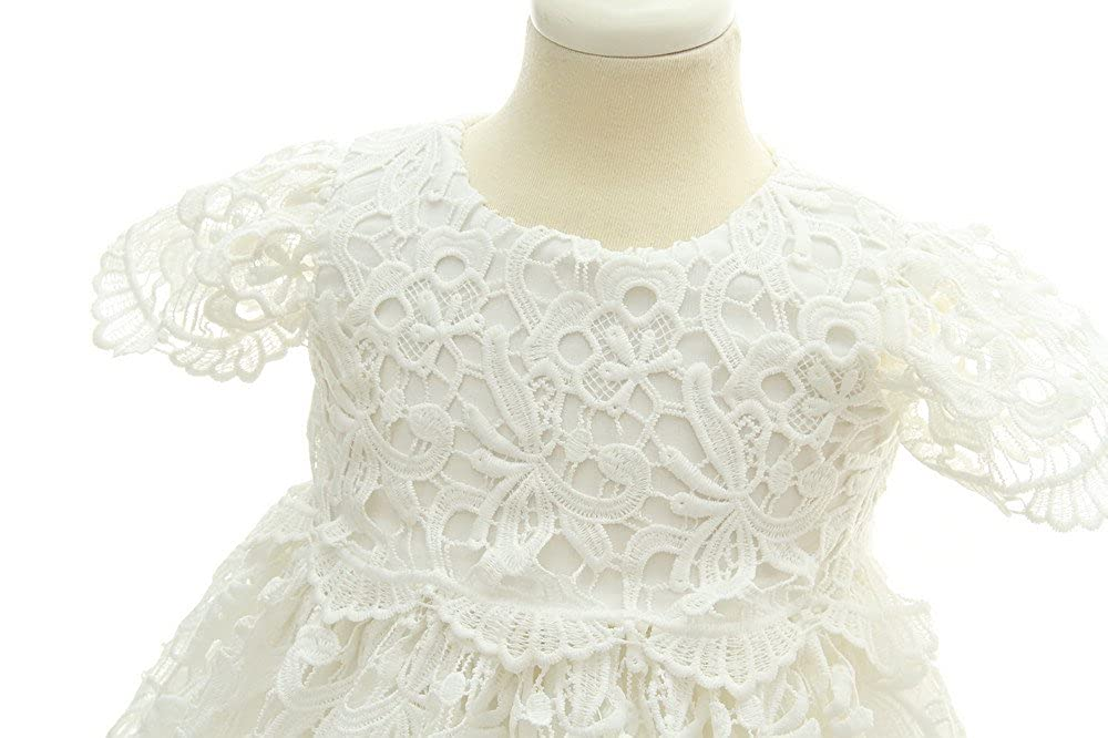 Slowera Baby Girls White Lace Dress Christening Baptism Gowns and Bonnet