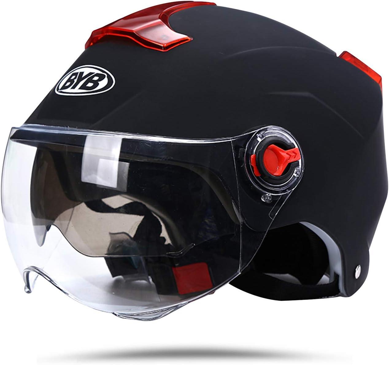 BOSEMAN Casco de Motocicleta con Visera, Adecuado para ciclomotores, Scooters, cruceros, Pase la Prueba de colisión para Cumplir con la Seguridad Vial