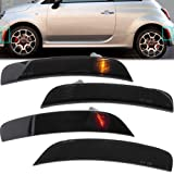 Smoked Lens Side Marker Lights for 2011-2017 Fiat 500 Sport Models Only Amber Front / Rear Red Halogen Bulbs Turn signal Mark