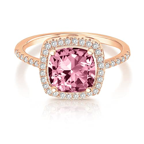 3aff37a766 Amazon.com: PAVOI 14K Rose Gold Plated Cushion Cut CZ Stackable Ring ...
