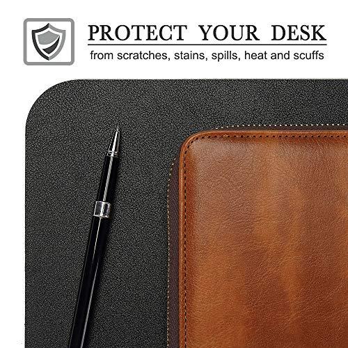 "Knodel Desk Pad, Office Desk Mat, 35.4"" x 17"" PU Leather Desk Blotter, Laptop Desk Mat, Waterproof Desk Writing Pad for Office and Home, Dual-Sided (Black)"