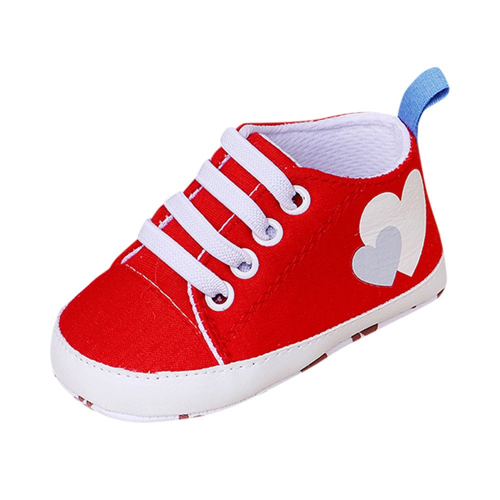 Creazrise Newborn Infant Baby Cartoon Girls Boys Soft Prewalker Casual Flats Shoes Sneakers Baby Rugby Printing Non-Slip Red