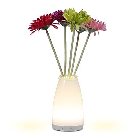 Homdox jarrón lámpara de mesa LED noche luz flor luz nocturna regulable atmósfera lámpara de sobremesa