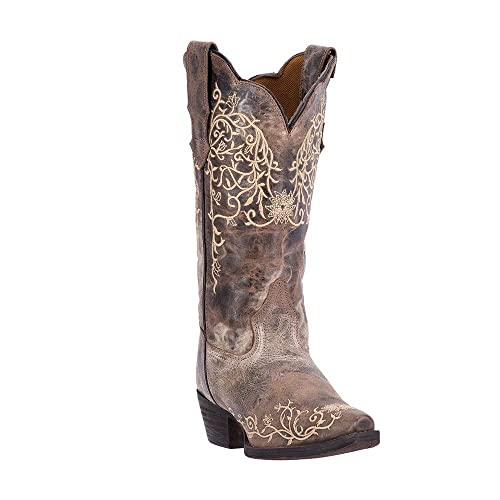 "058783bf Laredo Women Bone Flower Embroidery 12"" 8 M Taupe Jasmine Leather Cowboy  Boots"