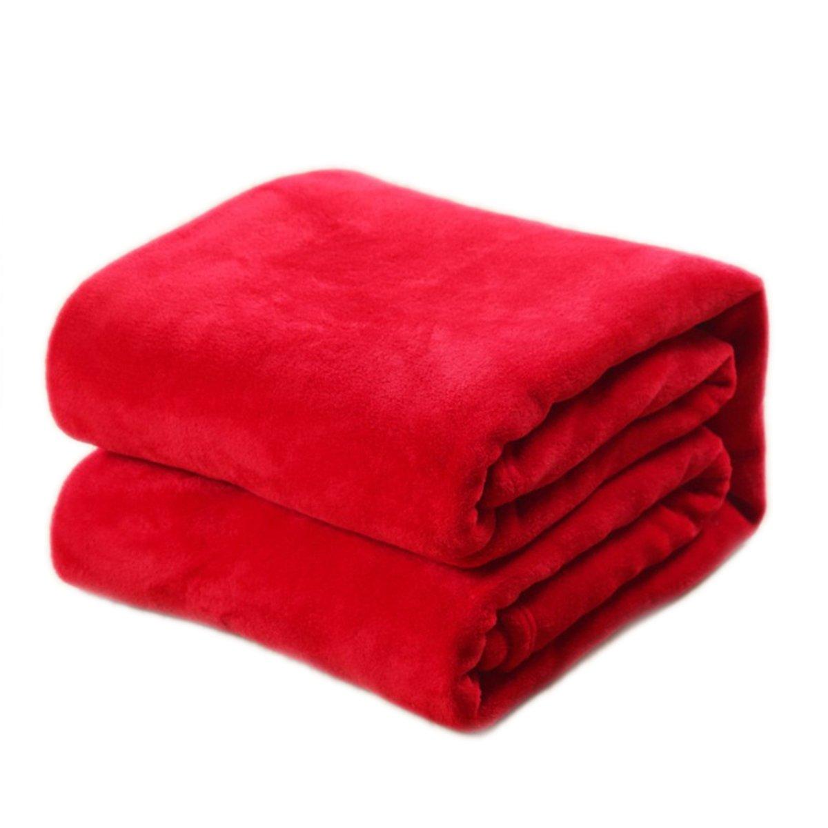 WINOMO Couvertures Plaid Polaire Doux Chaude pour Canap/é-lit Couch Sofa rouge