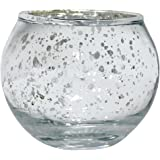 "Just Artifacts Round Mercury Glass Votive Candle Holders 2""H Speckled Silver (Set of 12) - Mercury Glass Votive Candle Holders for Weddings and Home Décor"