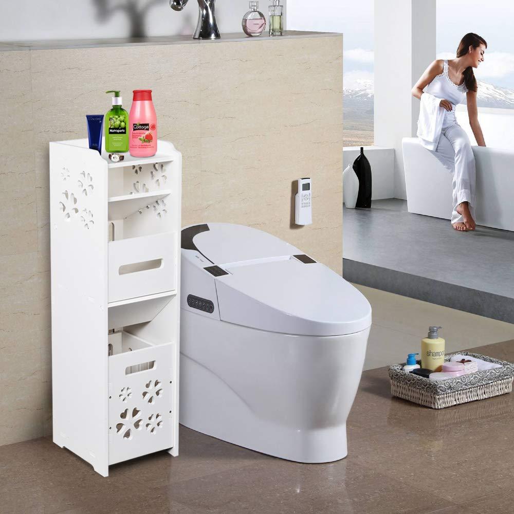 White Small Bathroom Storage Corner Floor Cabinet With Doors And Shelves Toilet Tissue Storage Tower Shelf Towel Storage Shelf For Paper Holder Model 2 Narrow Bath Sink Organizer Home Kitchen Zuiverlucht Bath