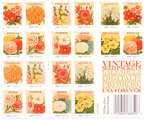 Vintage Postage Stamps (Vintage Seed Packets Sheet of 20 x Forever U.S. Postage Stamps)