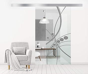Modern Glass Art - Puerta de cristal deslizante para Boss de diseño interior - Cristal de seguridad templado abstracto de 8 mm de grosor, nano revestido, accesorios de acero inoxidable SS304, gris: