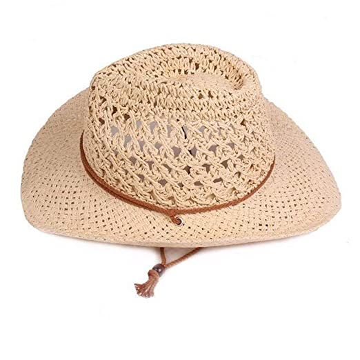 86e09ddbefad5 Imakcc Vintage Straw Hats -Straw Summer Hollow Straw Sun Hats Straw Cap  Beach Hats for Women(Beige) at Amazon Women s Clothing store