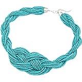 Damen Bohemian Stil handgefertigte Geknotete Halskette Perlen Halsband